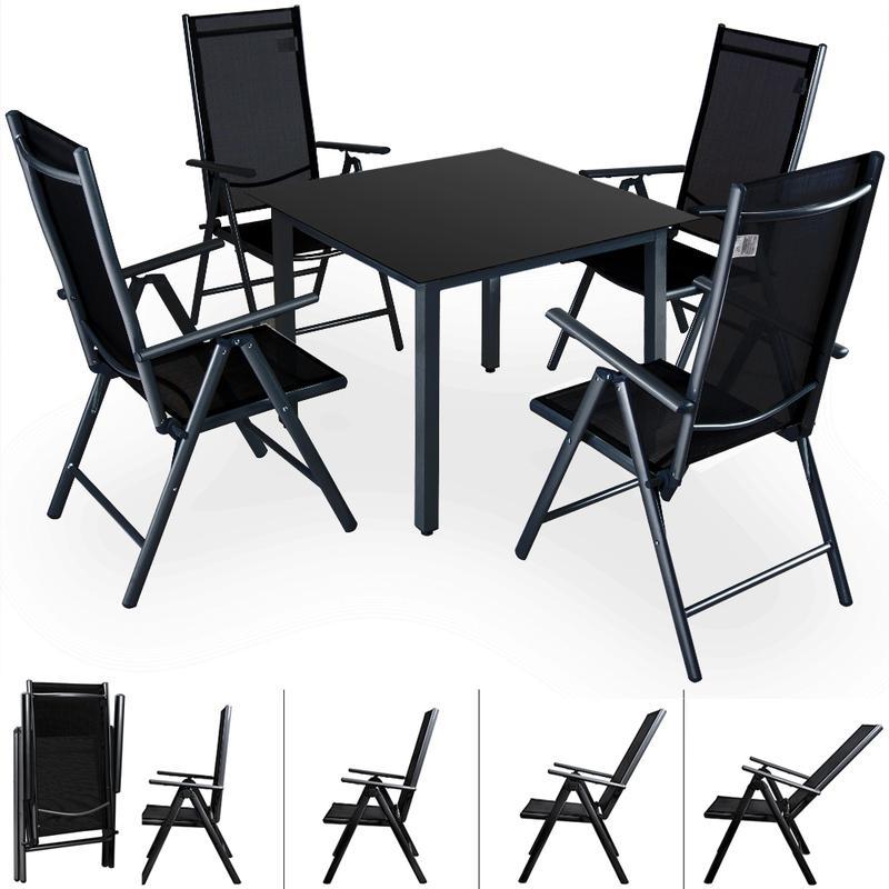 SALON DE JARDIN BERN 4 ET 1 ANTHRACITE ENSEMBLE TABLE ET CHAISES PLIABLES EN ALU - CASARIA