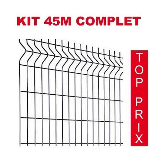 KIT 45M COMPLET GRILLAGE + POTEAU SUR PLATINE - HAUTEUR DU PANNEAU : 1025MM - PRIXIMBATTABLE