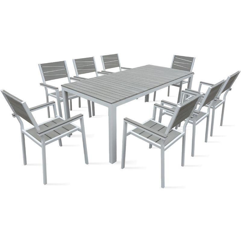 TABLE DE JARDIN 8 PLACES ALUMINIUM ET POLYWOOD - BLANC - OVIALA