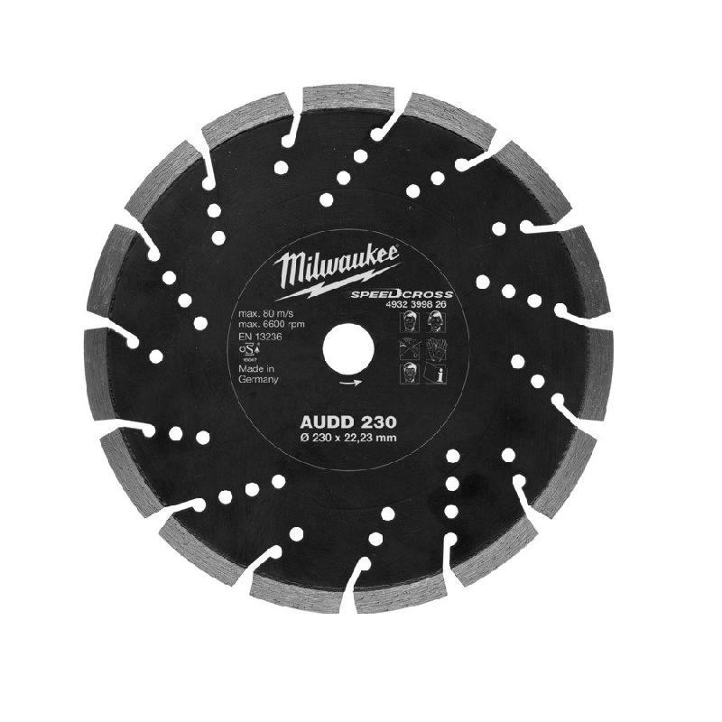 DISQUE SPEEDCROSS AUDD MATÉRIAUX TRÈS DURS MILWAUKEE - Ø230 MM - ALÉSAGE Ø 22.23 MM - 4932399826