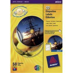 ÉTIQUETTES CD ET DVD AUTOCOPIANTES AVERY ZWECKFORM L7676 SPECIAL FORMAT BLANC Ø 117 MM 25 FEUILLES DE 2 ÉTIQUETTES
