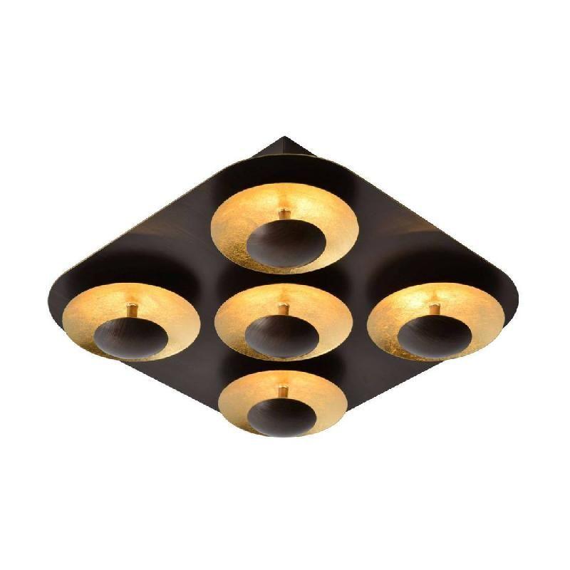 AMINE-PLAFONNIER LED 5 LUMIÈRES 34X34CM NOIR OR LUCIDE