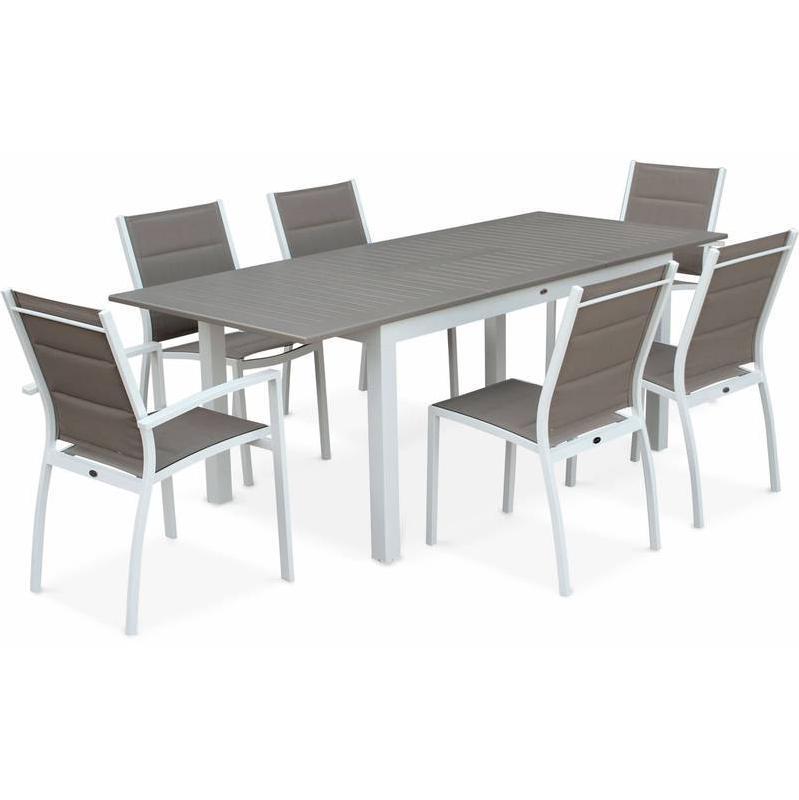 SALON DE JARDIN TABLE EXTENSIBLE - CHICAGO 210 TAUPE - TABLE EN ALUMINIUM 150/210CM AVEC RALLONGE ET 6 ASSISES EN TEXTILÈNE - ALICE'S GARDEN