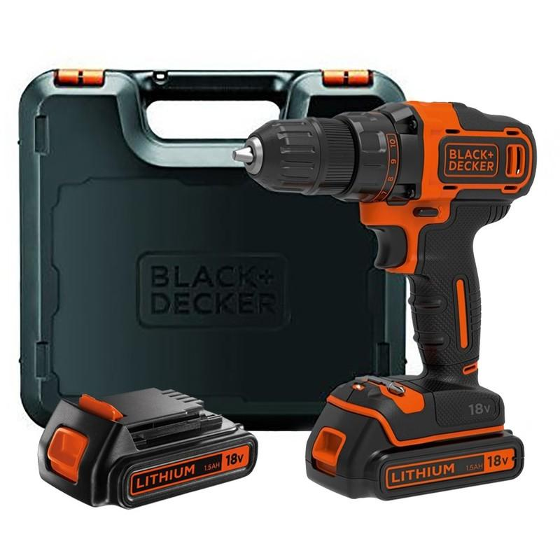 BLACK AND DECKER - PERCEUSE VISSEUSE 18V 2X1.5AH LI-ION AVEC COFFRET - BDCDD186K1B - BLACK & DECKER