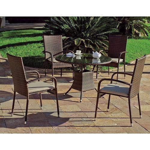 TABLE DE JARDIN BERGAMO 90: 1 TABLE + 4 FAUTEUILS + 4 COUSSINS HEVEA