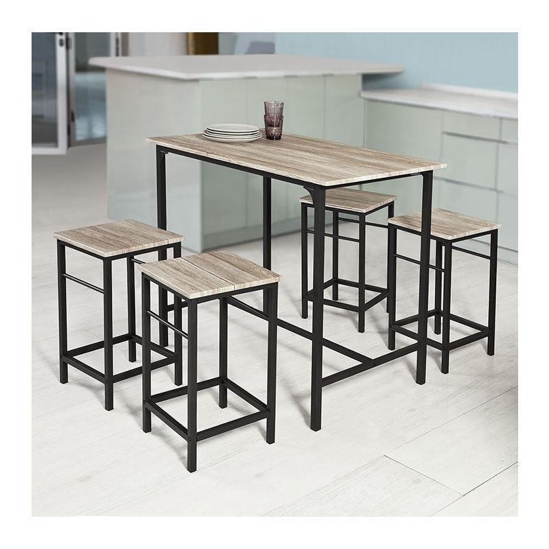 SET DE 1 TABLE + 4 TABOURETS ENSEMBLE TABLE DE BAR BISTROT MANGE-DEBOUT HAUTE CUISINE OGT11-N SOBUY®