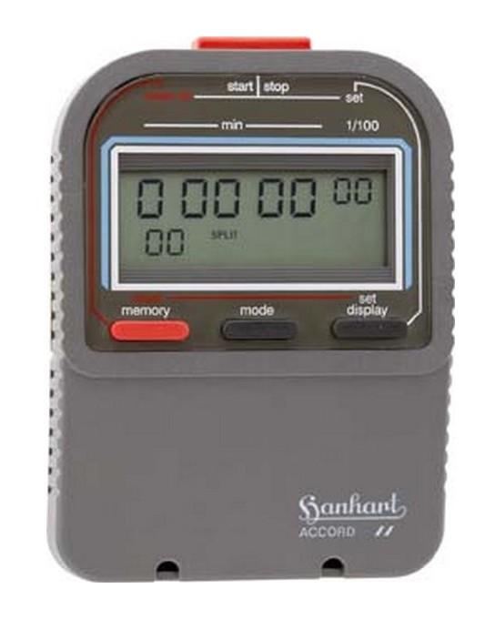 CHRONOMÈTRE NUMÉRIQUE ACCORD, AFFICHAGE LCD : AFFICHAGE SIMPLE, DURÉE D'AFFICHAGE 99999.99 MIN, MÉMOIRE 60, POIDS : 90 G - HANHART