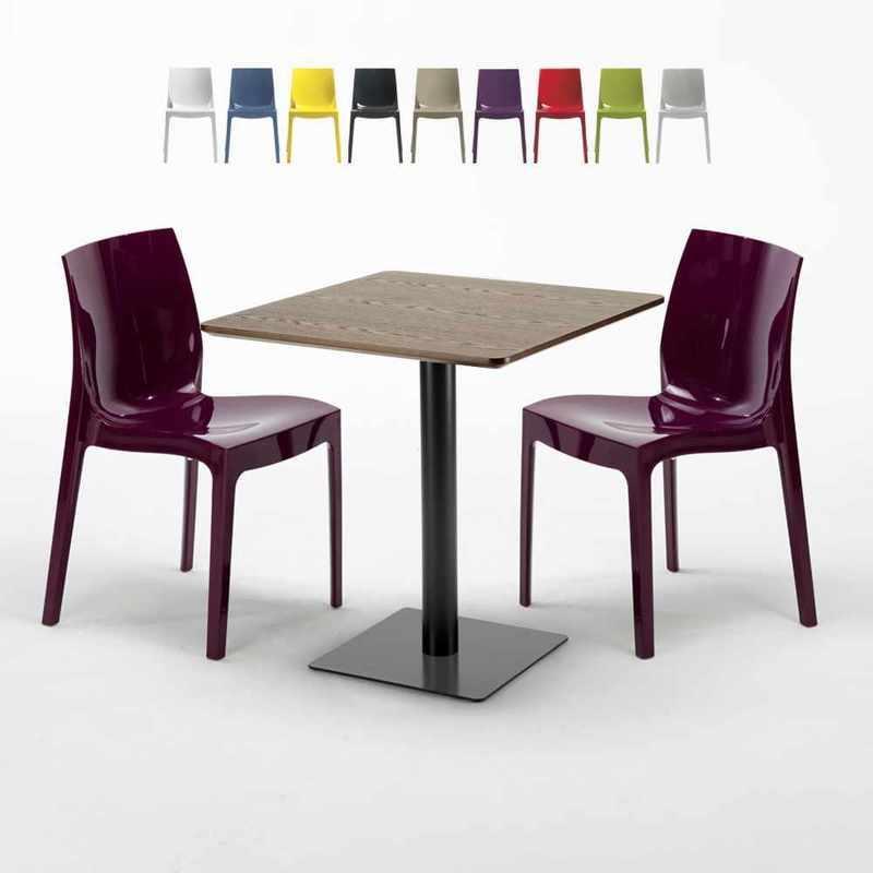 TABLE CARRÉE 60X60 PIED NOIR ET PLATEAU BOIS AVEC 2 CHAISES COLORÉES ICE KISS | POURPRE - GRAND SOLEIL
