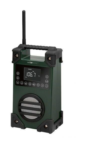 RADIO DE CHANTIER FM CLATRONIC BR 836 VERT PROTÉGÉ CONTRE LES PROJECTIONS DEAU, RÉSISTANT AUX COUPS