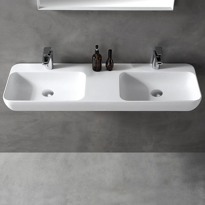 Double Vasque à Poser Ou Pour Montage Mural Twg203 En Pierre Solide
