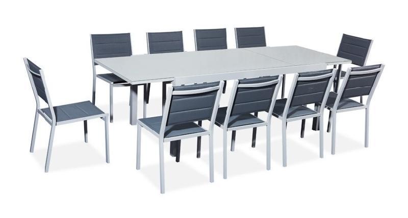 TABLE DE JARDIN EXTENSIBLE ALUMINIUM/VERRE 180/240CM + 10 CHASES EMPILABLES TEXTILÈNE GRIS - VERONE - AVRIL PARIS