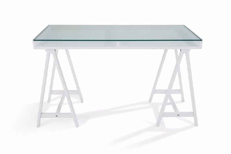 Bureau Blanc Verre : Bureau study blanc plateaux en verre trempÉ comparer les prix de
