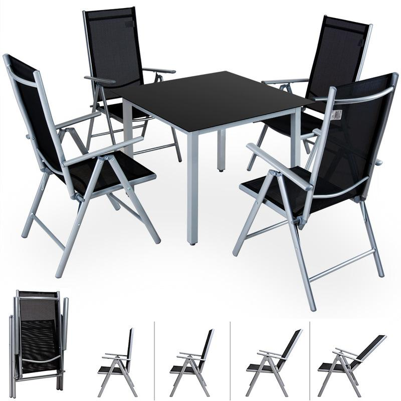 SALON DE JARDIN BERN 4 ET 1 GRIS CLAIR ENSEMBLE TABLE ET CHAISES PLIABLES EN ALU - CASARIA