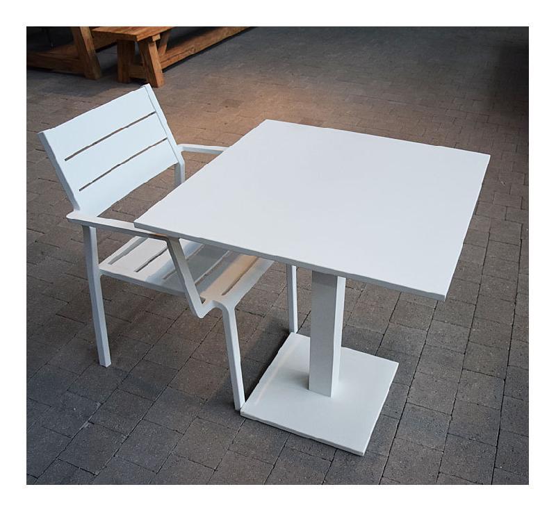 SALON OTRANTE TABLE PLIANTE ALU BLANC + 2 FAUTEUILS ALU BLANC - GECKO JARDIN