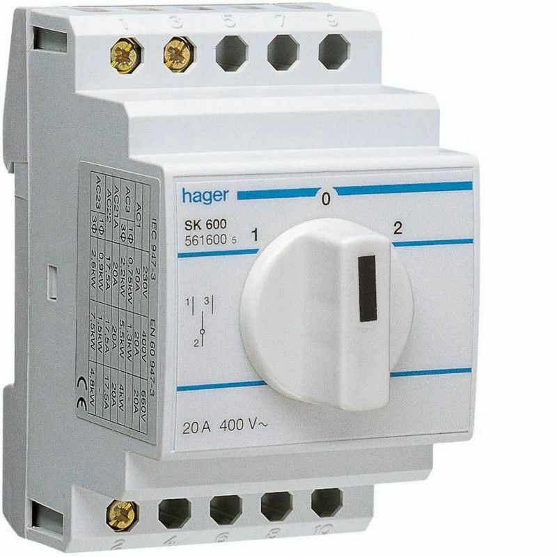 INVERSEUR UNIPOLAIRE 1 CONTACT OF 20A (SK600) - HAGER