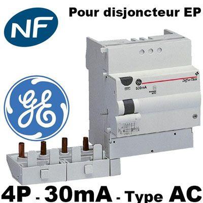 DISJONCTEUR DIFFéRENTIEL 4 PôLES 63A 30MA -AC - GENERAL ELECTRIC