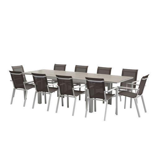 ENSEMBLE TABLE + CHAISES TULUM ALUMINIUM BLANC - T6/10+F6+C4