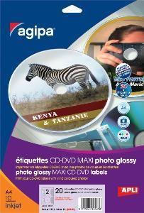 AGIPA 119847 ÉTIQUETTES CD/DVD JET D'ENCRE PHOTO BRILLANTES DIAM 117.5 MM - POCHETTE DE 20 FEUILLES