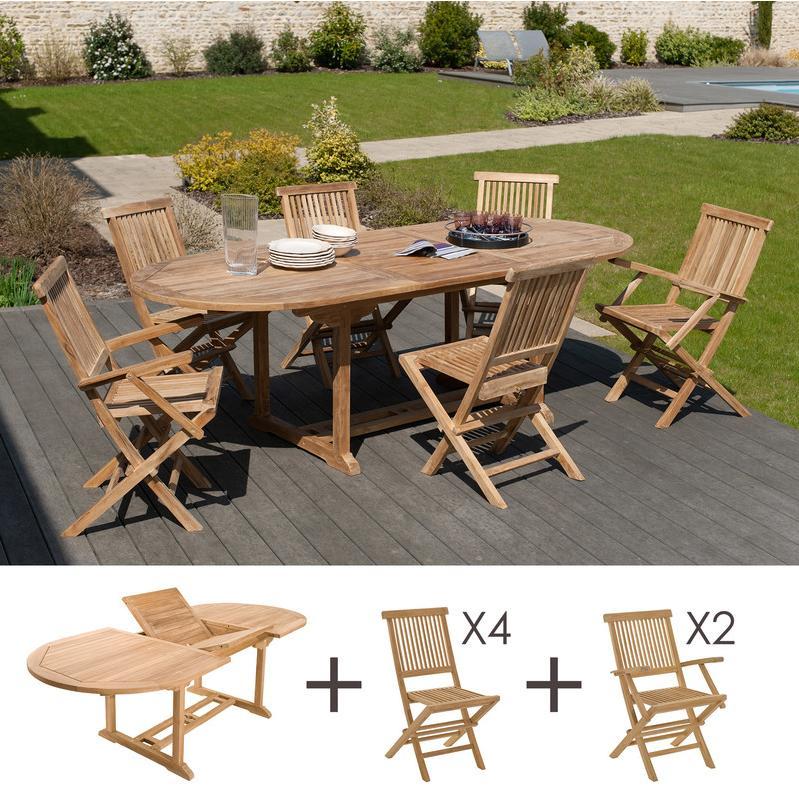 ENSEMBLE TABLE OVALE - 4 CHAISES - 2 FAUTEUILS - M&S