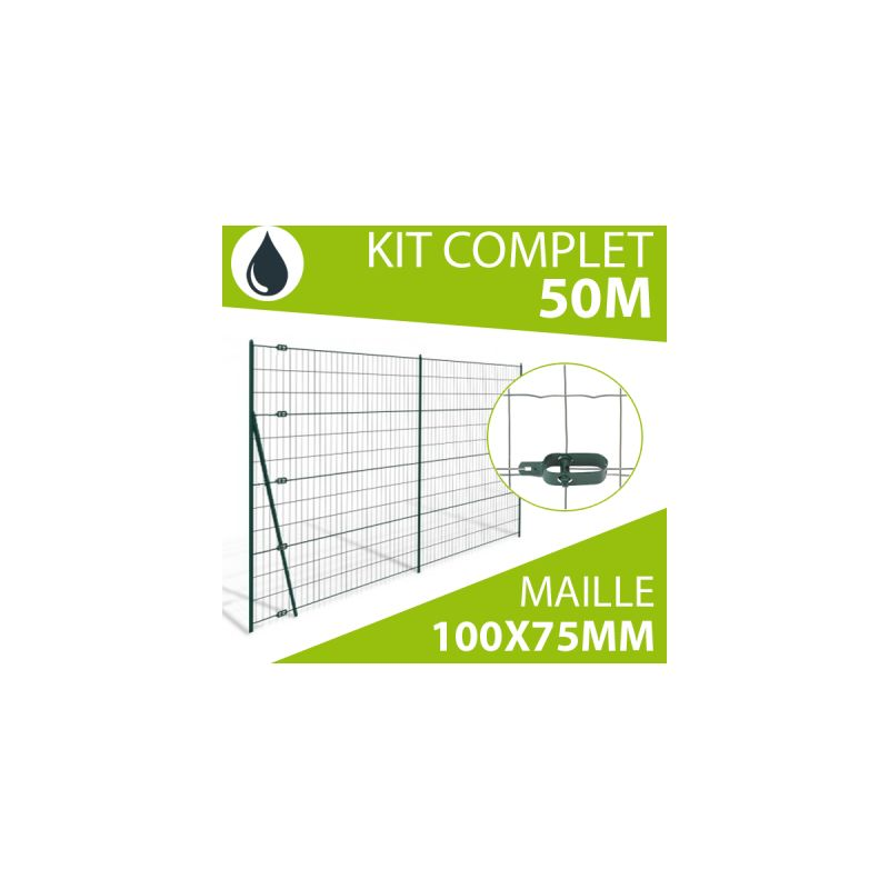 KIT GRILLAGE SOUDÉ GRIS 50M - MAILLE 100X75MM - 1,20 MÈTRE - CLOTURE & JARDIN