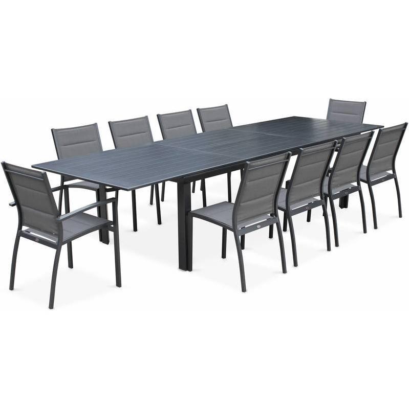 SALON DE JARDIN TABLE EXTENSIBLE - ODENTON ANTHRACITE - GRANDE TABLE EN ALUMINIUM 235/335CM ET 10 ASSISES EN TEXTILÈNE - ALICE'S GARDEN