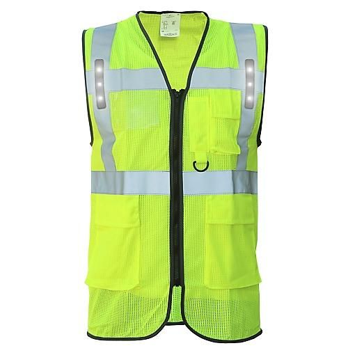 GILET DE TRAVAIL SAFARI LED JAUNE T2S
