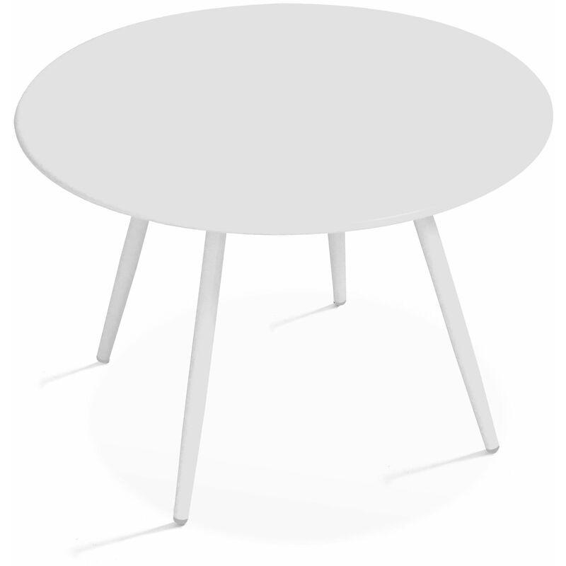 TABLE BASSE DE JARDIN RONDE Ø50CM ACIER THERMOLAQUÉ - BLANC ...
