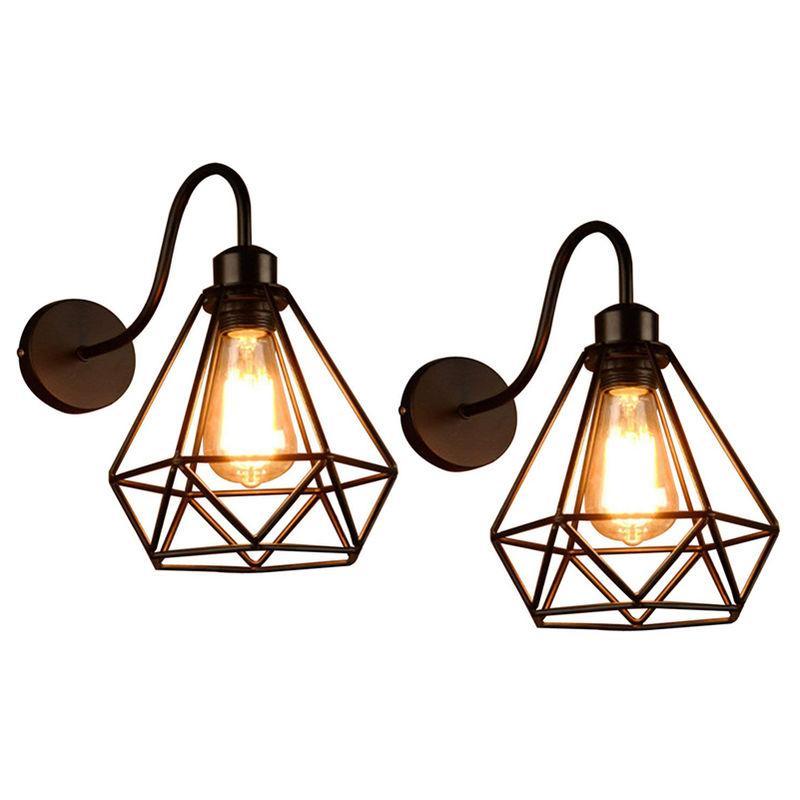 LOT DE 2 LAMPE MURALE VINTAGE INDUSTRIELLE E27 LOFT RETRO APPLIQUE MURALE ECLAIRAGE COULOIR ESCALIER - AXHUP