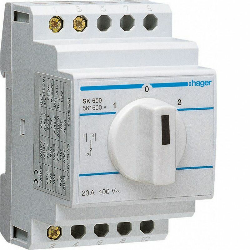 INVERSEUR BIPOLAIRE 2 CONTACTS NO-NF 20A (SK601) - HAGER