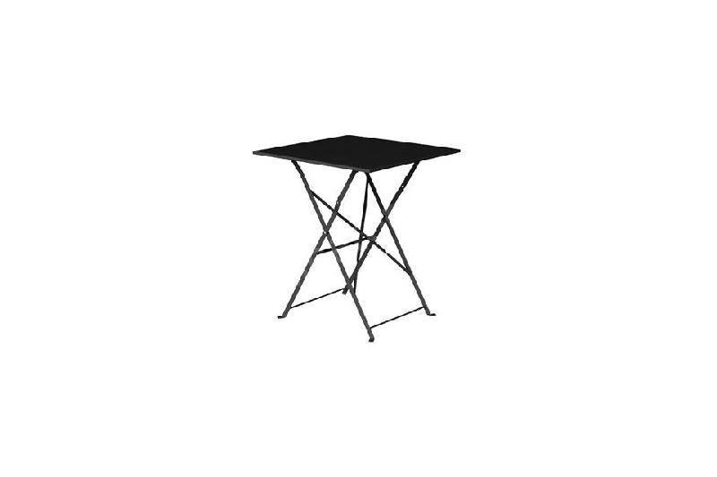 TABLE CARRÉE DE TERRASSE NOIRE EN ACIER BOLERO - 600 X 600 MM