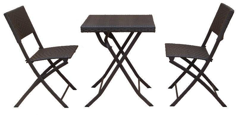 TABLE DE TERRASSE PLIANTE RÉSINE TRESSÉE + 2 CHAISES DE JARDIN DOLLY ...