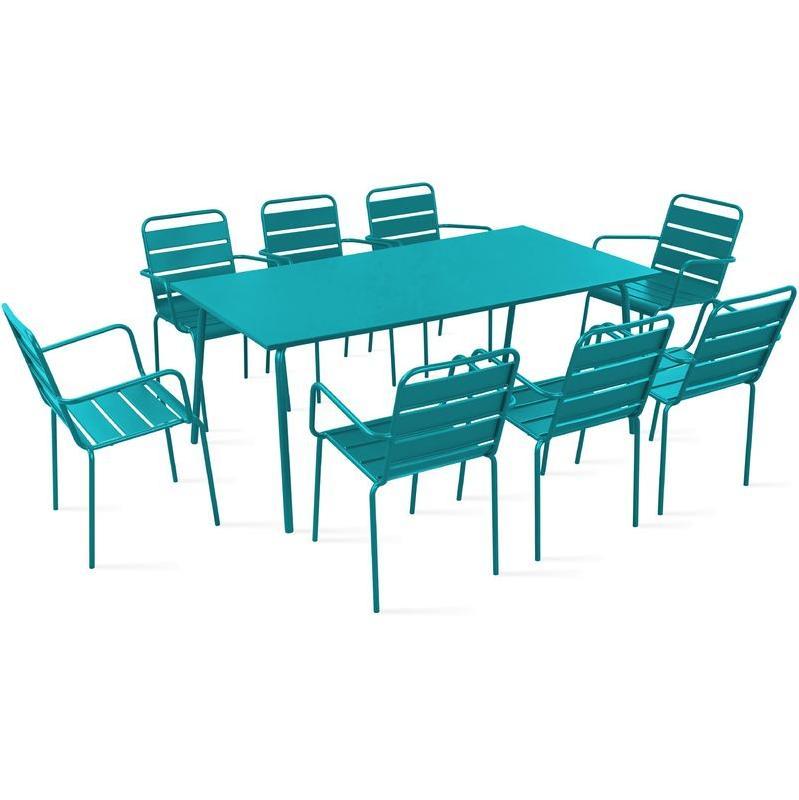TABLE DE JARDIN ET 8 FAUTEUILS EN MÉTAL - BLEU - OVIALA