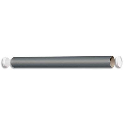 TUBE D'EXPÉDITION EN CARTON GRIS 72G - AVEC EMBOUTS EMBOÎTABLES EN PLASTIQUE - D60 X L640 MM