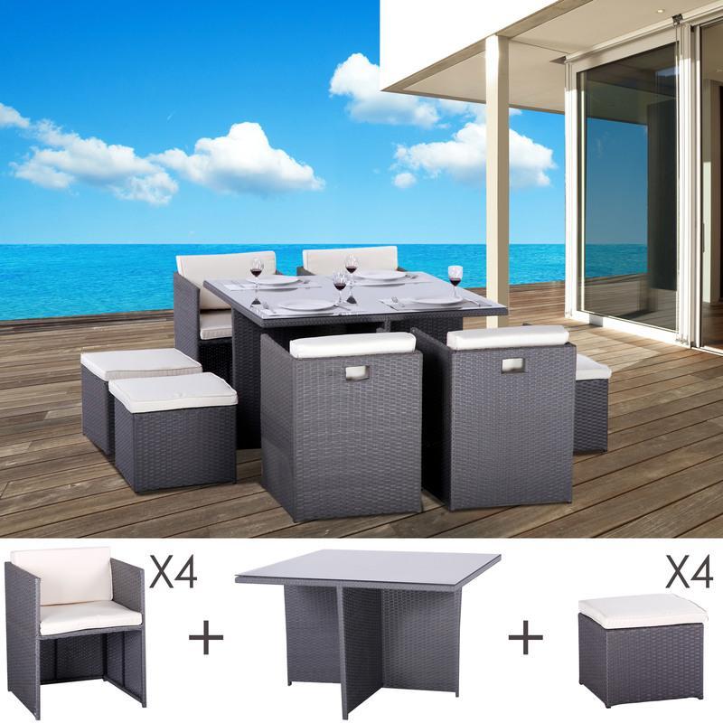 TABLE ET FAUTEUILS DE JARDIN ENCASTRABLES EN RÉSINE TRESSÉE 8 PLACES KUBO GRIS - M&S