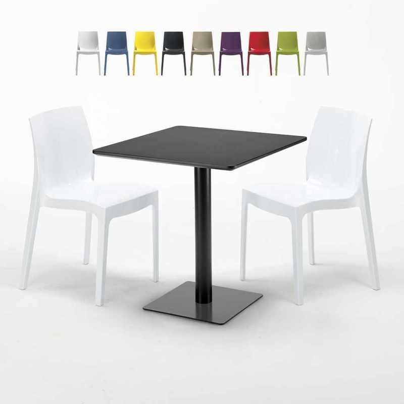 TABLE CARRÉE NOIRE 70X70 AVEC 2 CHAISES COLORÉES ICE KIWI   BLANC - GRAND SOLEIL