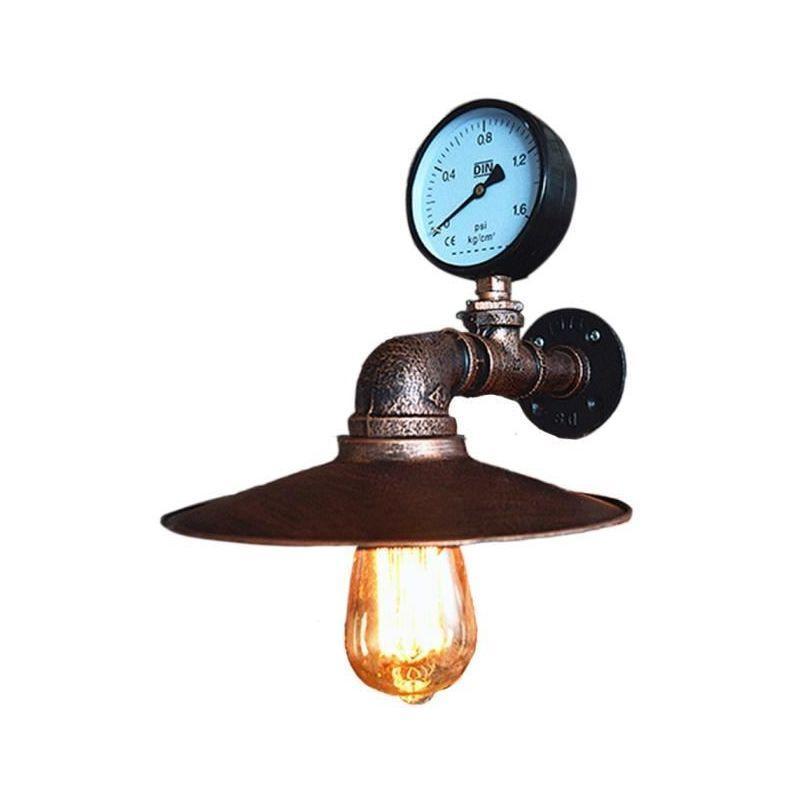 APPLIQUE MURALE VINTAGE INDUSTRIELLE TUYAU ROBINET FINITION DE FER LAMPE LUSTRE ABAT-JOUR POUR CHAMBRE, BAR, SALON ROUILLE - STOEX