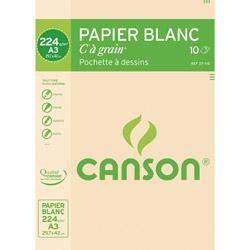 BLOC 10 FEUILLES CANSON À GRAIN A3 224GR