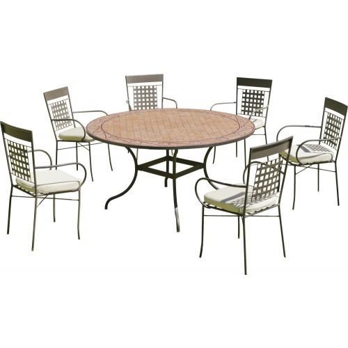 TABLE DE JARDIN BELICE : 1 TABLE+ 6 FAUTEUILS ET COUSSINS HEVEA