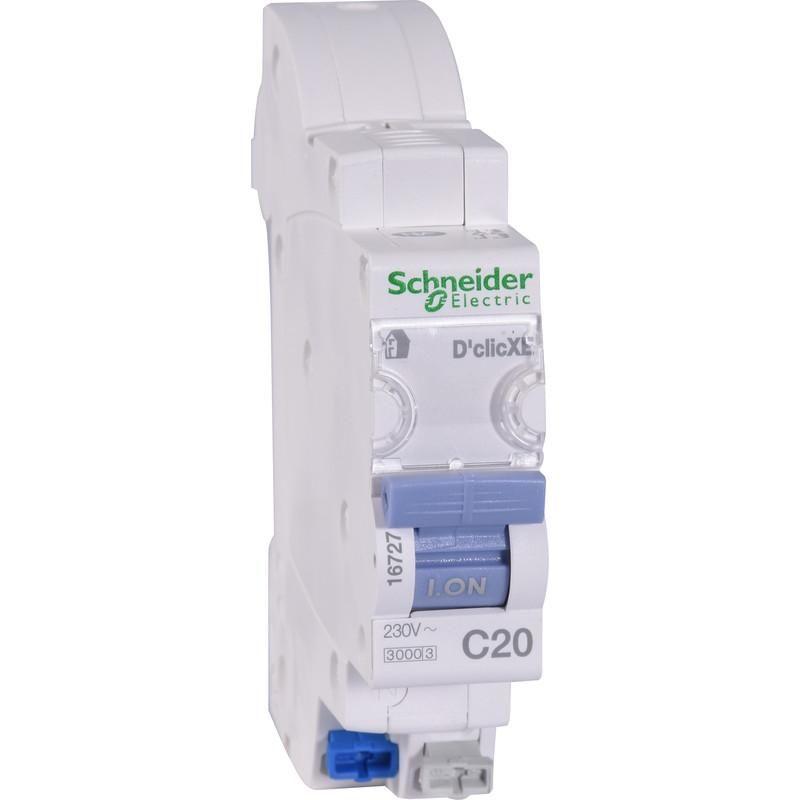 DISJONCTEUR EMBROCHABLE SCHNEIDER RESI9 XE 1P+N 20A - RESI9