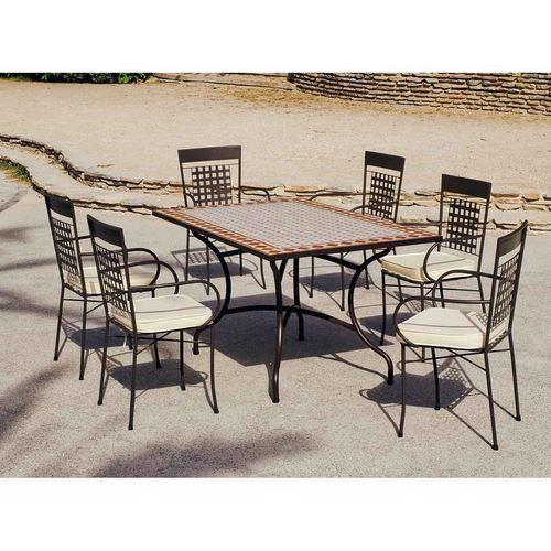 ENSEMBLE ATV15 - 1 TABLE TONS 150 BRIQUE ET BLANC + 6 FAUTEUILS FER FORGE AVEC COUSSINS