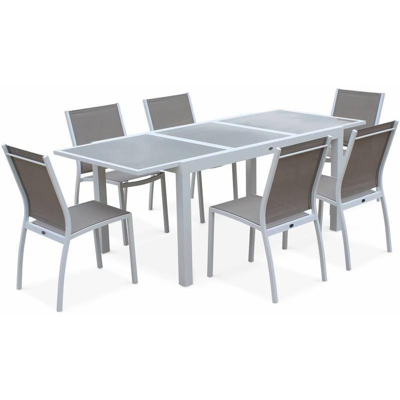 SALON DE JARDIN TABLE EXTENSIBLE - ORLANDO TAUPE - TABLE EN ALUMINIUM 150/210CM ET 6 CHAISES EN TEXTILÈNE - ALICE'S GARDEN