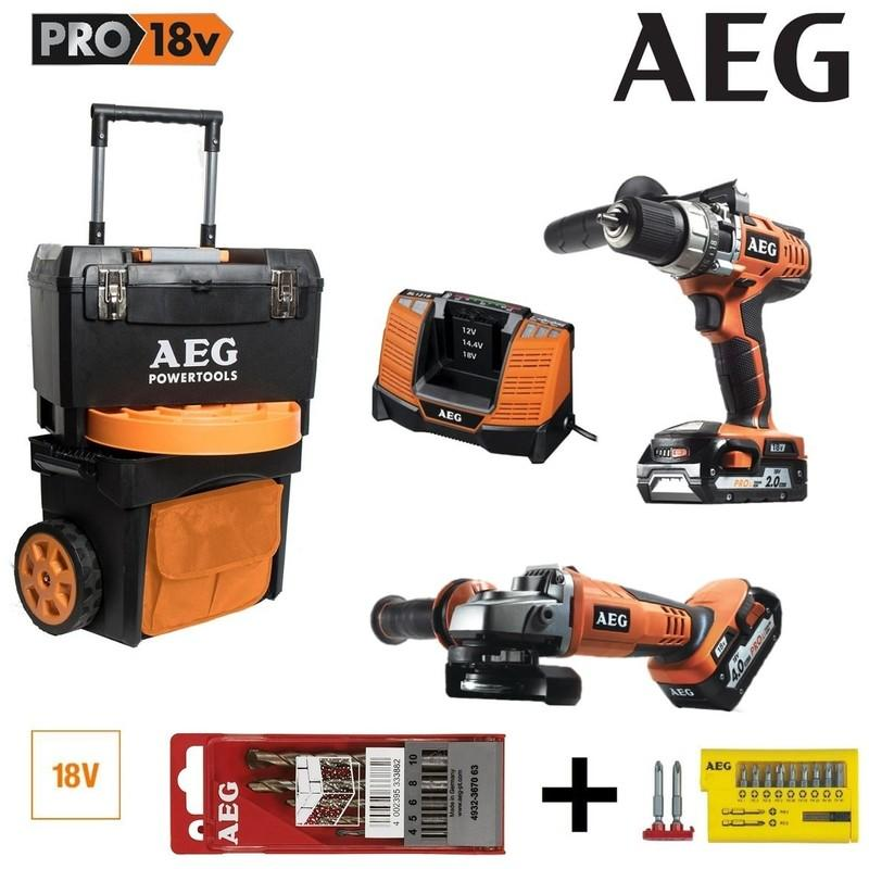 PERCEUSE PERCUSSION + MEULEUSE AEG 18V LI-ION 1 BATTERIE 4.0AH + 1 BATTERIE 2.0AH 1 TROLLEY