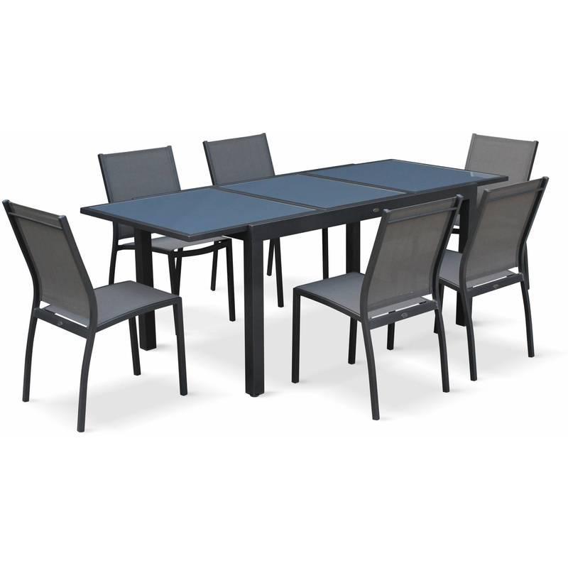 SALON DE JARDIN TABLE EXTENSIBLE - ORLANDO GRIS FONCÉ - TABLE EN ALUMINIUM 150/210CM ET 6 CHAISES EN TEXTILÈNE - ALICE'S GARDEN