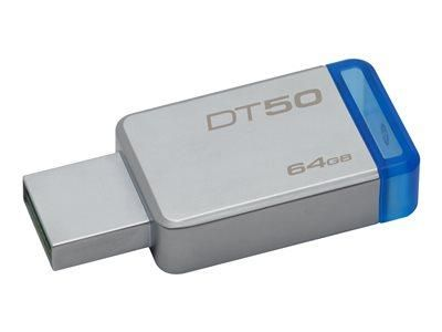 KINGSTON DATATRAVELER 50 - CLÉ USB - 64 GO - USB 3.1 - BLEU
