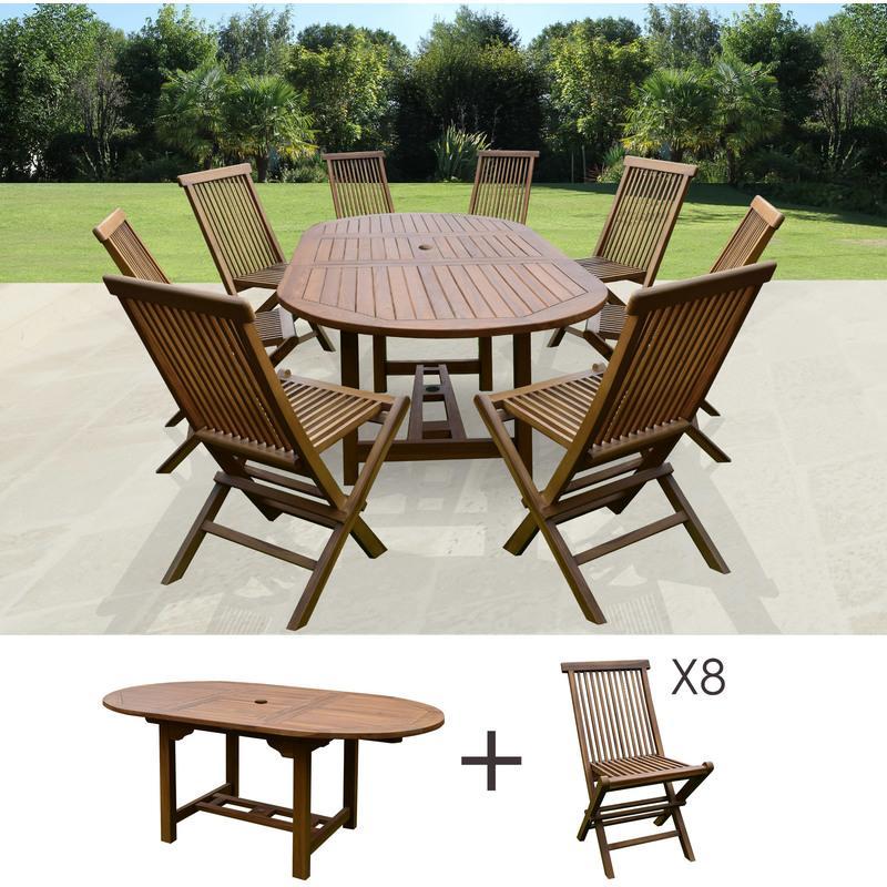 TABLE DE JARDIN 160/210X100X75CM + LOT DE 8 CHAISES - M&S