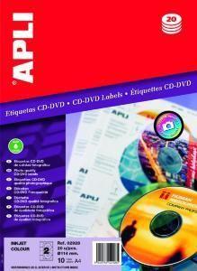 AGIPA 02928 ÉTIQUETTES CD/DVD JET D'ENCRE PHOTO BRILLANTE DIAM 114 MM - POCH 10 FEUILLES