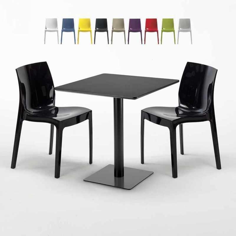 TABLE CARRÉE NOIRE 70X70 AVEC 2 CHAISES COLORÉES ICE KIWI   NOIR - GRAND SOLEIL