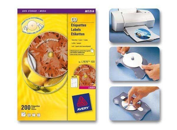 PLANCHES D'ÉTIQUETTES CD MAXI COUVRANTES LASER Ø117 MM 200 ÉTIQ/BOÎTE - NEUF - AVERY - L7676