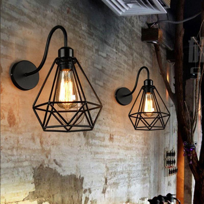APPLIQUE MURALE INTERIEUR 2PCS LAMPE MURALE INDUSTRIELLE LUMINAIRE ABAT-JOUR CAGE DIAMANT METAL NOIR - AXHUP