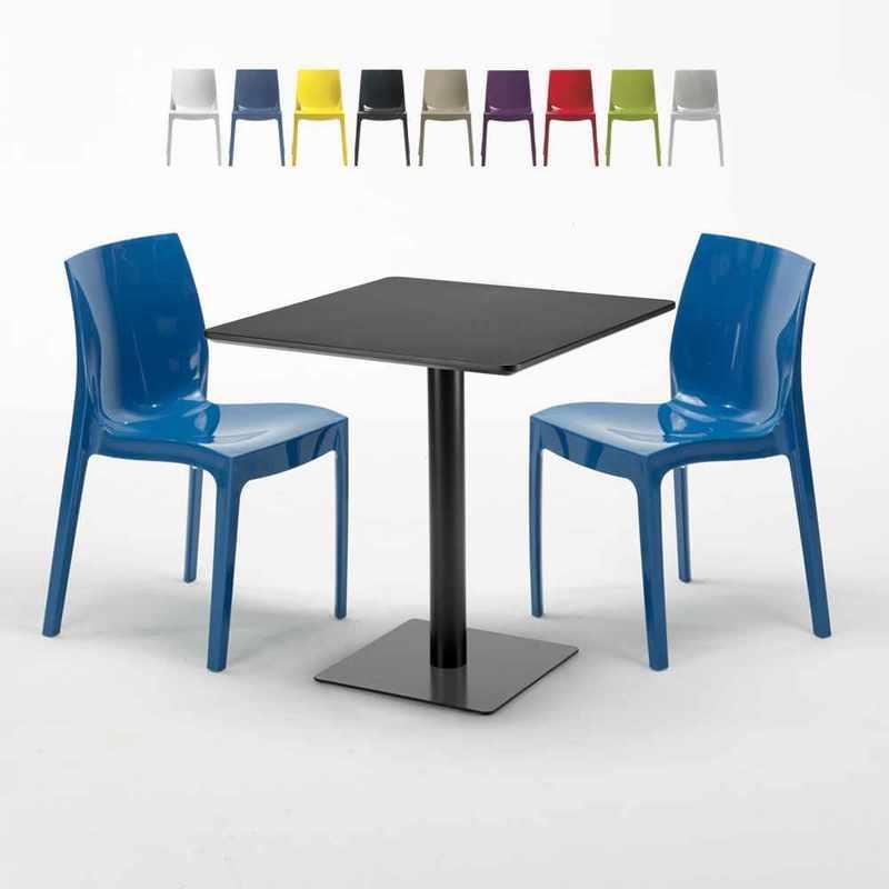 TABLE CARRÉE NOIRE 70X70 AVEC 2 CHAISES COLORÉES ICE KIWI   BLEU - GRAND SOLEIL